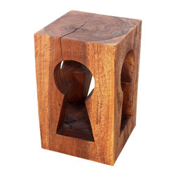 Kammika - 4-sided Sustainable Wood Keyhole 14x14x22 in H w Eco Friendly Livos Chestnut Oil - Our Four-sided Sustainable Monkey Pod Wood Keyhole 14 inch Depth x 14 inch Width x 22 inch Height in Eco Friendly, Natural Food-safe Livos Chestnut Oil Finish Stool or Stand has a slot artistically carved through a solid block of arched wood exposing the growth rings on the sides. The carving is unique to look at and thru. This piece is finished in Eco Friendly, Natural Food-safe Livos Chestnut Oil that creates rich dark brown tones. The more it is buffed the more lustrous it will become. This piece serves wonderfully as an end table or stool; place two side by side for a longer table; it can alternately be used as a stand or coffee table. Made from the thick branches of the quick-growing Acacia tree in Thailand - where each branch is cut and carved to order (allowing the tree to continue growing), each is hand carved from a single piece of Monkey Pod. Each is a Work of Art! Craftspeople from the Chiang Mai area in Northern Thailand create these pieces with the simplest of tools. After each Monkey Pod Wood (Acacia, Koa, Rain Tree grown for wood carving) piece is kiln dried, carved and sanded, it is rubbed in Livos Chestnut oil that creates a highly water resistant and food safe finish. These natural oils are translucent so the wood grain detail is highlighted; this are then polished to a matte finish. There is No oily feel and cannot bleed into carpets. After each piece is carved, kiln dried, sanded, and rubbed with Livos oil, they are packaged with cartons from recycled cardboard with no plastic or other fillers. As this is a natural product, the color and grain of your piece will be unique, and may include small checks or cracks that occur when the wood is dried. Sizes are approximate. Products could have visible marks from tools used, patches from small repairs, knot holes, natural inclusions, and/or worm holes. There may be various separations or cracks on your piece whe