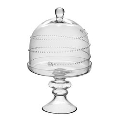 """Home Essentials - Glass Footed Cake Pedestal with Dome - Present your cakes and confections in a breathtaking way with our elegant and convenient glass footed cake plate. With circling thread like the flight of the bumblebee, this high quality cakes stand is ideal for serving and makes a handsome addition to any table. Whether displaying our shimmering cake plate as your wedding centerpiece, or presenting it as a hostess gift, this brilliant cake plate will surely give you its best in elegance.    * Dimensions: D: 11.6"""" H: 7""""  * Hand wash recommended"""