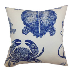The Pillow Collection - Emilia Animals Pillow Navy - This interesting throw pillow is decorated with sea creatures. The navy blue colored animal print pattern on the accent pillow is set against an immaculate white background. The decor pillow is a great statement piece to lighten up the mood of your bedroom or living room. This square pillow is made from 100% soft cotton fabric. Hidden zipper closure for easy cover removal.  Knife edge finish on all four sides.  Reversible pillow with the same fabric on the back side.  Spot cleaning suggested.