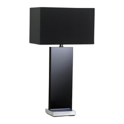 Zuo - Vista Black Table Lamp - Chic and sexy like a little black dress, the Vista black table lamp takes table lighting to the next level.  The monochromatic table lamp includes an all-black fabric shade (included) coupled with a chic black glass base.  This black table lamp adds elegance to any space including the living area, bedroom or home office.