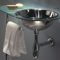 Whitehaus - New Generation 26 in. Aqua Laminated Counter - Includes towel bar post. Polished chrome wall mount supports. Matte glass counter top. Polished stainless steel basin on right side. Single hole faucet drilling. Inside bowl: 14 in. Dia. x 5 in. H. Outer: 26 in. W x 17 in. D x 34 in. H (30 lbs.). Warranty