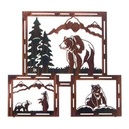 Lazart - Grizzly Life Rustic Metal Wall Art Triptych 24-inch - This  rustic  metal  wall  art  triptych  depicts  3  scenes  of  the  grizzly  bear  life.  From  roaming  mountain  forests,  to  meeting  up  with  other  bruins  or  taking  his  daily  catch  of  fish  from  mountain  streams,  this  rustic  metal  art  is  precision  cut  and  beautifully  finished.  Constructed  from  cold-rolled  steel  with  a  special  heat  transfer  process  that  bonds  the  color  wash  finish  to  the  metal.  Make  this  self-framed  rustic  metal  wall  art  a  part  of  your  decor  by  ordering  today.            See  more  rustic  wildlife  metal  wall  art                   Color  wash  finish  is  hand  applied  for  rich  color  tones              Perfect  over  fireplace  mantel  or  above  the  sofa