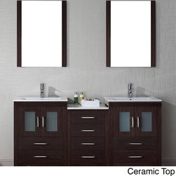 VIRTU - Virtu USA Dior 66 inch Double Sink Vanity Set in Espresso - Virtu USA 66 inch Dior double sink vanity is the essence of beauty and quality material. This Dior set comes with two vanities,one side cabs that comes with a total of four soft closing doors,eight soft closing drawers,two mirrors....more.
