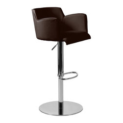 Euro Style Sunny Adjustable Bar Stool Brown - Please note: This item is not intended for commercial use. Warranty applies to residential use only.