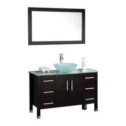 """Cambridge - Cambridge 48"""" Solid Wood Glass Vessel Sink Vanity Set w/ Brushed Nickel Faucet - Need storage in the bathroom? This large 48 inch vanity set will create all the storage you need with its six drawers and two large doors. Each drawer has soft close hinges at no additional cost. The cabinet has the popular Espresso finish and a totally contemporary tempered glass counter top and vessel sink. Since this is a complete set you get a quality single stem brushed nickel faucet, supply lines, p trap and drain. To finish off the set you get a nice 47 x 28 wood trimmed mirror."""