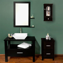 """34"""" Southcrest Console Vanity - Add this wonderful vanity cabinet set to your bathroom for a beautiful, dramatic appearance. Made of solid wood, the vanity features a sleek, open design with an angled, ceramic sink."""