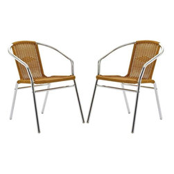 Modway - Bistro Dining Chairs Set of 2 in Natural - Perch artfully as your mind expands to synchronize with your surroundings. Hidden reserves of strength and joy well to the surface as you artfully direct every meeting. The Chromed Rattan Cafe Chair is a sure sign of accomplishments made public for all to see.