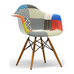 Baxton Studio - Mid-Century Dining Chair - Set of 2 - Set of 2. Legs with steel reinforcements. Upholstered seat. Non-marking feet. Spot clean only. Made from foam, plastic, wood and patchwork fabric. Multicolor. Assembly required. Seat: 17.25 in. W x 17 in. D x 18.37 in. H. Arm height: 26 in.. Overall: 24.63 in. W x 24 in. D x 31.13 in. H (18 lbs.)