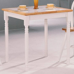 Coaster - Damen Square Dining Table - Clean lines. Smooth rounded edges. Turned legs and base. Made from solid wood. Two tone natural and white finish. 30 in. L x 30 in. W x 29 in. H. WarrantyThis charming dining table is perfect for the breakfast nook or casual dining spot in your home. Pretty White legs rest below, creating a lovely two tone look that will add rustic character to your home. The Damen collection offers a variety of casual dining options to create a warm and charming dining room in your home. These table are sure to blend with your decor for an inviting look that the whole family will enjoy.