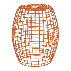 Safavieh - Eric Orange Grid Stool - A small pull-up table like this works indoors or out, and it pulls double (and triple!) duty as end table, extra seating or place to prop up your toes.