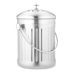 Brushed Stainless-Steel Compost Pail - Do you compost? I have a great service in my neighborhood that collects your compost each week, so I'm trying to get on board. This bucket would be a perfect place to store all the scraps for the week.