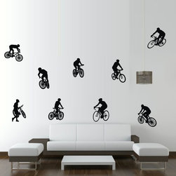ColorfulHall Co., LTD - DIY Wall Decoration Bicycle with Cyclist Cars Fitness Wall Decals (9pcs) - You will find hundreds of affordable peel - and - stick wall decal designs, suitable for all kinds of tastes and every room in your house, including a children's movie theme, characters, sports, romantic, and home decor designs from country to urban chic. Different from traditional decals, vinyl wall decals is with low adhesive that allows you to reposition as often as you like without damaging the paint. Application is easy: peel offer the pre-cut elements on the design with a transfer film, and then apply it to your wall. Brighten your walls and add flair to your room is just as easy.
