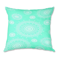 DiaNoche Designs - Pillow Linen - Monika Strigel Infinity Mint - Add a little texture and style to your decor with our Woven Linen throw pillows. The material has a smooth boxy weave and each pillow is machine loomed, then printed and sewn in the USA.  100% smooth poly with cushy supportive pillow insert with a hidden zip closure. Dye Sublimation printing adheres the ink to the material for long life and durability. Double Sided Print, machine wash upon arrival for maximum softness. Product may vary slightly from image.