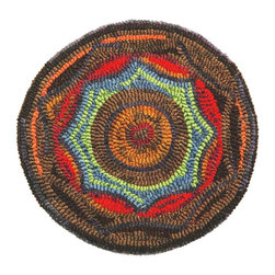 Homespice - Homespice Porch Pad Round Hooked Round Chair Pad - Our hand hooked chair pads make great accents for your country primitive home decor. These unique chair pads combine old world hooking techniques with interesting designs to provide an exciting new decorating element.
