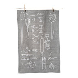 KAF Home - Kitchen Tools Tea Towel, Set of 3 - This handy floursack towel makes a great addition to the modern kitchen. A unique design features outlines of many essential kitchen tools, and the solid granite color pairs well with any modern or classic kitchen decor. Cotton material is soft on skin and is great for drying dishes.