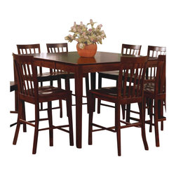 Coaster - Coaster Pines Counter Height Dining Leg Table with Leaf in Walnut - Coaster - Dining Tables - 101038WLN - This simple and stylish table will blend easily with your casual contemporary decor. The smooth rectangular counter height table features a leaf so you can easily extend the length from 36 inches to 54 inches to accommodate guests. Sleek square tapered legs rest below. Pair with the matching chairs for a great casual dining and entertaining area that friends and family will enjoy.
