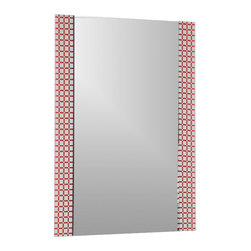 Decor Wonderland Mirrors - Decor Wonderland Hip to Be Square Frameless Bathroom Mirror - This rectangular frameless bathroom mirror is a contemporary frameless mirror perfect for modern decor. This beautifully crafted large wall mirror features a screened and acid wash process that forms bright red squares surrounding the main large mirror.