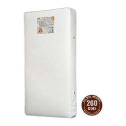 AFG Baby - AFG Baby 260 Coil Organic Mattress - 260 Heavy 15.5 Gauge Steel Coils containing 100% Organic cotton layers with 6 gauge border wire for extra support. 2-in-1 function: firmer side for infant, softer side for toddler. Features a triple laminated cover for tear and water resistance and air vents to keep it fresh. Meets and exceeds all federal and state flammability standards. Mattress fits toddler beds. Made in the USA.