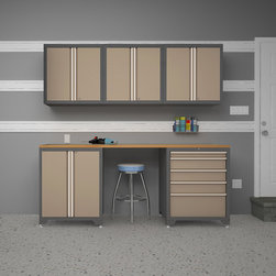 None - NewAge Products Pro Series 6-piece Cabinetry Set - The Pro Series 6 Piece Set in taupe is an ideal storage solution for your garage or workshop. Pro Series cabinetry creates additional space by getting items off the floor. Pro Series cabinets come fully-welded are are built to last.