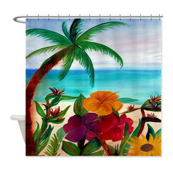 usa - Tropical Floral Beach Shower Curtain - Beautiful shower curtains created from my original art work. Each curtain is made of a thick water resistant polyester fabric. The permanently applied art work appears on the front side with the inside being white. 12 button holes for easy hanging, machine washable and most importantly made in the USA. Shower rod and rings not included. Size is a standard 70''x70''