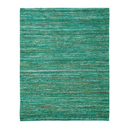 Anji Mountain - 4' x 6' Emerald Saree Rug - Stunning color palettes and subtle gradient patterns abound in our Cosmos collection. This flat weave pile is constructed of carefully selected recycled material from vintage Indian sarees. Each rug is one of a kind and offers a unique juxtaposition of tradition, elegance and sustainability.