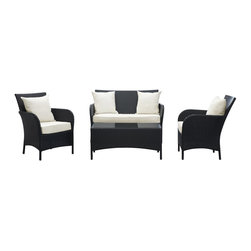 Modway - Thrive Sofa Set in Espresso White - Infuse your every gathering with vitality and grace as you briskly drink in energized moments. Generate success as you recline on this cheerful modern outdoor set. Fluid lines and an avant garde form exude prosperity and healthy movements.