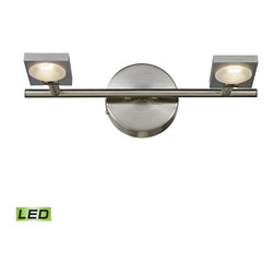 Elk Lighting - Reilly 2-Light Bath in Brushed Nickel and Brushed Aluminum - The Reilly Collection features adjustable LED technology that offers crisp illumination and versatility among sleek modern lines. The light holder is made of solid brushed aluminum while the framework is done in a complimentary brushed nickel finish.