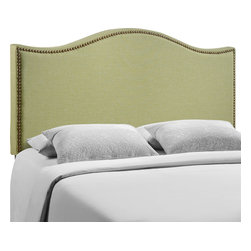 LexMod - Curl Queen Nailhead Upholstered Headboard in Green - Wavy lines and a welcoming design make the Curl headboard series a selection of elegance. Upholstered in fine linen with a fashionable nail button trim, Curl shows off the best of modern design with a fluid style that speaks volumes. Made from particleboard with solid wood poles, Curl makes it easy to curl up to while pleasantly supported by this perfect centerpiece for your bedroom.