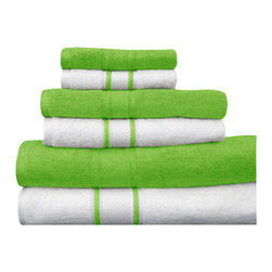 """Casa-Platino - 100% Egyptian Cotton Assorted Towels, Green, Set of 6 - Two bath towels 28"""" x54"""""""