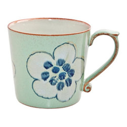 Denby - Denby Heritage Orchard Accent Large Mug - Set of 2 - DENB213 - Shop for Mugs from Hayneedle.com! The Denby Heritage Orchard Accent Large Mug- Set of 2 will give your morning coffee the breezy charm of a spring flower. These durable mugs are handcrafted stoneware with modern microwave dishwaser and freezer safe usability. The Heritage collection features vintage-inspired designs and these two mugs are the cream of the crop with their delicate flower motif and mint green and brown color palette. So wake up smell the coffee and take a warming drink of your favorite morning beverage.About DenbyDenby has its roots in England where skilled craftsman have been making pottery using traditional methods for over 200 years. Though the time and styles have changed Denby has kept pace and today continues to make high-quality beautiful and timeless dinnerware. From its humble roots Denby has spread all over the world and is a top choice for brides and families looking to spruce up their dining sets. Even better all of Denby's products are made for the modern kitchen and are dishwasher- oven- microwave- and freezer-safe.