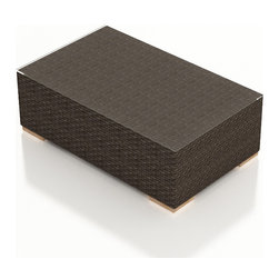 Harmonia Living - Arden Modern Outdoor Coffee Table, Chestnut Wicker - The Arden Outdoor Patio Coffee Table (SKU HL-ARD-CT-CH) adds a touch of function and practicality to your outdoor patio set. Its beautiful wicker is finished with a weathered Chestnut finish and is made from High-Density Polyethylene (HDPE), which ensures that the wicker will neither fade nor peel in regular sun exposure. A clear tempered glass makes cleaning the top an easy task while its thick-gauged aluminum frame provides a stable, durable foundation for your new coffee table.