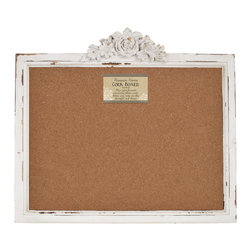 Enchante Accessories Inc - Distressed Wood Framed Wall Message Cork Board, Shabby White - Designed for the casual home decorator or interior designer who loves vintage inspired style, this wood framed cork board adds style and function to an entry way, kitchen, or office.  The Distressed Wood Framed Wall Message Cork Board features a classic rectangular design with beveled edges, nicks and imperfections that reveal the natural beauty of the wood, and a distressed painted finish that gives it a weathered, antique look.  '