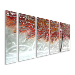 Pure Art - Ferocity of Color Aluminum Set of Six Metal Wall Art Panels - Spectacular color and unparalleled style elements come together in this magnificent metal wall art grouping! The Ferocity of Color Aluminum Set of Six Metal Wall Art Panels features a scene of fiery foliage upon a background of swirling, whirling, brilliant silver.  This set is abundantly sized to make a big decorative impact above a couch, sofa, bed, or buffet in the dining area, but is well suited for many areas of the home.  Add this to any space where you wish to bring a bold shot of color in a large metal wall art grouping that will stand out visually on any wallMade with top grade aluminum material and handcrafted with the use of special colors, it is a very appealing piece that sticks out with its genuine glow. Easy to hang and clean.