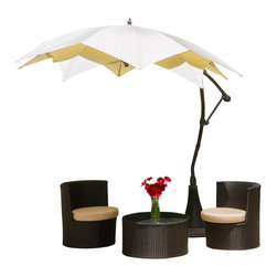 Great Deal Furniture - Barbados Outdoor Beige Cantilever Patio Umbrella Canopy, Mocha - The innovative design of the Barbados Cantilever Canopy makes this piece a perfect shade solution for you and your guests. Add this canopy to any outdoor patio area to immediately give you and your guests the right protection you need from the elements. The height and direction of the canopy covering are both easily adjustable with the turn of a handle, giving you personalized shade to fit your needs. This canopy comes complete with a base that the pole can easily fit into, creating a foundation for the structure. Function and form go hand in hand with this durable piece, designed to give you all of the benefits of being outdoors at no cost to comfort.