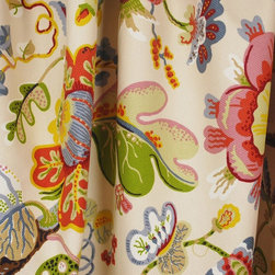 Kauf - Wonderland Pearl Jacobean Floral Upholstery Fabric By The Yard - Graphic floral drapery and curtain fabric. Wonderland Pearl is 100% cotton, but it's a basket weave style heavy cotton. You can use this fabric on pillows, bedding, as drapery panels or as an upholstery fabric. Very bright and fun colors with a large bold pattern. Make a wonderful statement in any room!