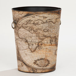 World Map Trash Can - This vintage map trash can would be fun in an office or study.