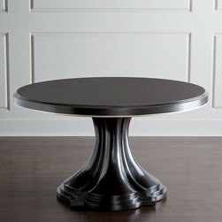 """Horchow - Calabria Dining Table - EBONY - Calabria Dining TableDetailsTable handcrafted of walnut veneers and radiata solids.Comes with one 20""""W table leaf; storage bag included.54""""Dia. x 30""""T; 54""""W x 74""""D x 30""""T with leaf.Imported.Boxed weight approximately 315 lbs. Please note that this item may require additional delivery and processing charges."""