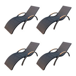 Arbor 4-Piece Stackable Chaise Lounge Set, Coffee Bean Wicker
