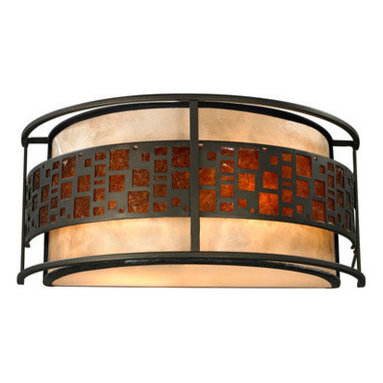 Z-Lite - Z-Lite Z14-50WS Milan 2 Light Wall Sconces in Java Bronze - The Oak Park family finished in Java Bronze offers clean lines with simple, geometric forms to show true craftsman's styling. This 2 Light Wall sconce is finished in Java bronze paired with White and Amber Micca.