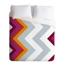 DENY Designs - Karen Harris Modernity Solstice Warm Chevron Duvet Cover - Turn your basic, boring down comforter into the super stylish focal point of your bedroom. Our Luxe Duvet is made from a heavy-weight luxurious woven polyester with a 50% cotton/50% polyester cream bottom. It also includes a hidden zipper with interior corner ties to secure your comforter. it's comfy, fade-resistant, and custom printed for each and every customer.