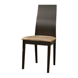 Baxton Studio - Dining Chair in Dark Brown Finish - Set of 2 - Set of 2. Contemporary style. Tan microfiber seat. Subtle silver accents at the base of the seat on the chair back. Wipe frame with a dry cloth and spot clean seat. Made from solid beech veneer and polyurethane foam cushion. Made in Malaysia. Assembly required. Seat: 17.62 in. W x 16.62 in. D x 19 in. H. Overall: 17.62 in. W x 19.75 in. D x 36.68 in. H (15 lbs.)