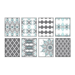 Studio D&K - Abstract Art Set of 8 Prints in Turquoise, Blue, and Grey • Large Wall Art - Moroccan Inspired Art Set of Eight 8x10 Abstract Prints in Turquoise, Teal, and Grey.