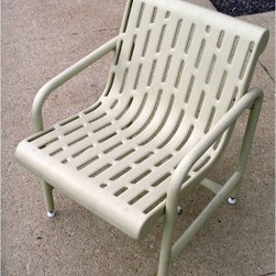 Premier Polysteel Laser Cut Chair - Add comfortable armchair seating to your patio or deck with the Premier Polysteel Laser-Cut Chair. This attractive chair has a contoured seat and is perfect for relaxing and enjoying the outdoors. Constructed of plastisol-coated laser-cut steel it is durable and easy to maintain. The design prevents dirt and rainwater from accumulating on the chair so you always have a dry place to sit. Adjustable plastic feet allow you to determine the height you prefer. This convenient comfy chair is available in a variety of finishes to match your style and outdoor setting. Choose from ivory black hunter green evergreen or brown. Add the Premier Polysteel Laser-Cut Table to create a comfortable outdoor dining set. Dimensions: 23L x 25W x 30H inches.About A.D.A. Enterprises/Premier PolysteelWhat began as a steel manufacturer is now an enterprise that creates 100 percent plastic-coated steel outdoor furniture. A.D.A. Enterprises which owns Premier Polysteel offers a wide line of benches picnic tables trash receptacles bike racks umbrellas and grills. Located in Northwood Iowa A.D.A. takes pride in the high quality of its products. These products are sturdily built and completely coated in UV-stabilized plastisol. Durable excellently crafted outdoor furniture is what A.D.A. is all about.