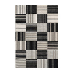 Frontgate - Patchwork Stripe Outdoor Rug - Power-loomed of 100% fiber-enhanced Courtron polypropylene. Structured flat-woven construction. Resists water, mold and mildew. UV stabilized. Easy-to-clean. , the Patchwork Stripe Outdoor Rug offers a highly durable pile of superior comfort. This area rug's structured, flat-woven construction allows for complete versatility style-wise, as well as an easy-to-maintain surface that's perfect for today's on the go household. Specifically designed to withstand outdoor elements, this chic rug is  to ensure each color retains their vibrancy after exposure to sun and other weather conditions.  .  .  .  .  . Pet friendly . Suitable for indoor or outdoor use . Add a rug pad for increased drainage and softness underfoot, and to hold rug in place .