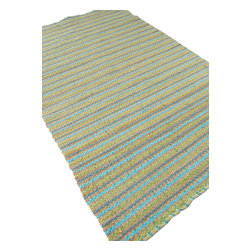 Jaipur Rugs - Naturals Solid Pattern Cotton/ Jute Blue/Green Area Rug (5 x 8) - The Andes collection is hand-woven with jute and recycled Chindi cotton fabric for touches of both color and a softer feel. Eco friendly and durable, these rugs fit in a variety of homes.