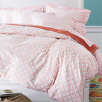 Everyday Printed Percale Comforter Cover, Rose Hip Pink Tile - Coral is one of my favorite springtime colors, and I love covering a lighter-weight duvet with a fresh cover like this one.