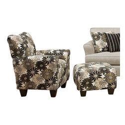 Chelsea Home Furniture - Chelsea Home Daisy Floral Accent Chair and Ottoman in Springfever Stone - Daisy Floral Accent Chair and Ottoman in Spring fever Stone belongs to the Chelsea Home Furniture collection