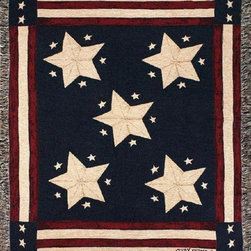 Manual - Long May It Wave American Flag Themed Tapestry Throw Blanket 50 Inch x 60 Inch - This multicolored woven tapestry throw blanket is a wonderful addition to your home or cabin. Made of cotton, the blanket measures 50 inches wide, 60 inches long, and has approximately 1 1/2 inches of fringe around the border. The blanket features an American Flag print. Care instructions are to machine wash in cold water on a delicate cycle, tumble dry on low heat, wash with dark colors separately, and do not bleach. This comfy blanket makes a great housewarming gift that is sure to be loved.