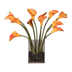 None - Dozen Callas Silk Plant - Add a beautiful touch to any space with this silk plant. A peach callas and an oval glass vase highlights this plant.