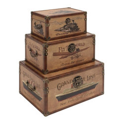 Aspire - World Traveler Rectangular Trunk - Set of 3 - This set of rectangular storage trunks look like they were taken straight out of the 1920's. The chests are designed to look like the storage trunks often used by high society ladies of the 1920's. Each box features a different icon from the past. Wood and Faux Leather. Color/Finish: Brown. 8 in. H x 17 in. W x 11 in. D. 6 in. H x 15 in. W x 9 in. D. 5 in. H x 12 in. W x 7 in. D. Weight: 6 lbs.